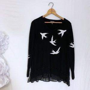 Swallow rhinestone ruffle hem sweater birds M